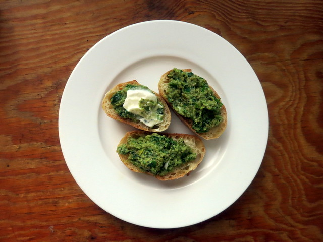 Crostini with Castelvetrano olive tapenade and fromage blanc