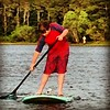 Will is working hard fighting the wind on Schoolhouse Pond near Chatham, Mass. #capecod2014 #paddleboarding #swimming #capecod