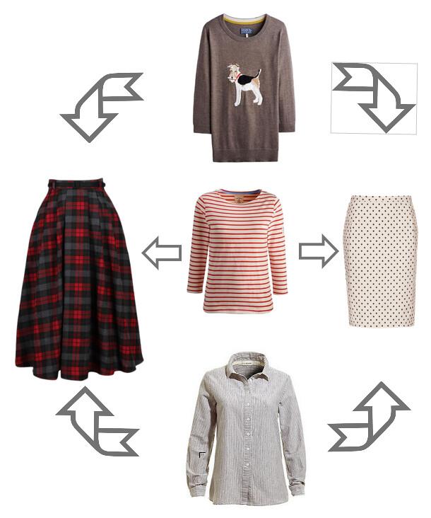 stripes, dots, plaid, sweater, button up, le breton shirt, monochrome, pattern mixing, graphic, fox terrier,