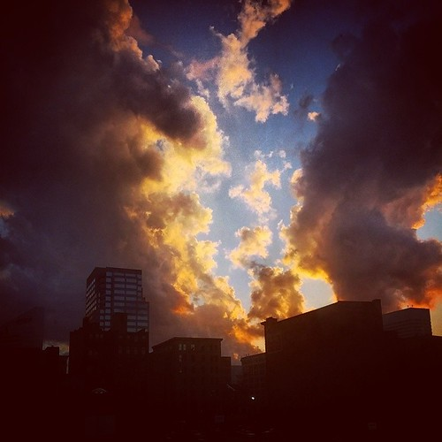 More pretty clouds again tonight hovering above downtown Cincinnati...