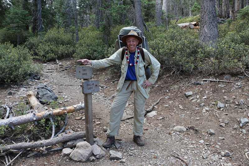 Me at the Dry Lake - Dollar Lake Trail Junction on the South Fork Trail. Wearing red, white, and blue, of course!