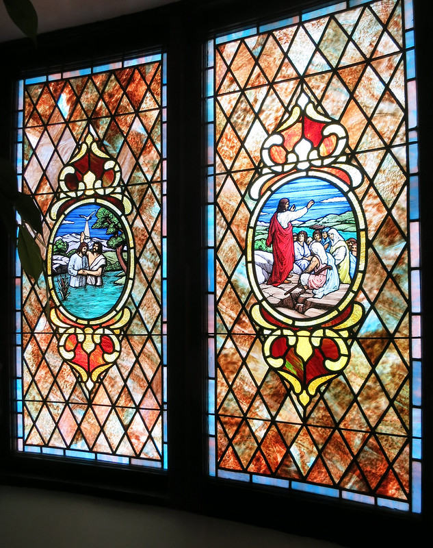 IMG_9415 2014-07-28 Moore Chapel UMC Childrens Home Decatur GA side chapel double stained glass B Baptism and Sermon on the Mount