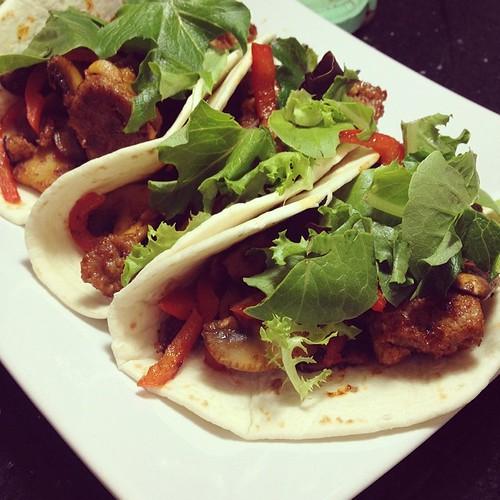 BBQ seitan and mushroom tacos. www.good-good-things.com