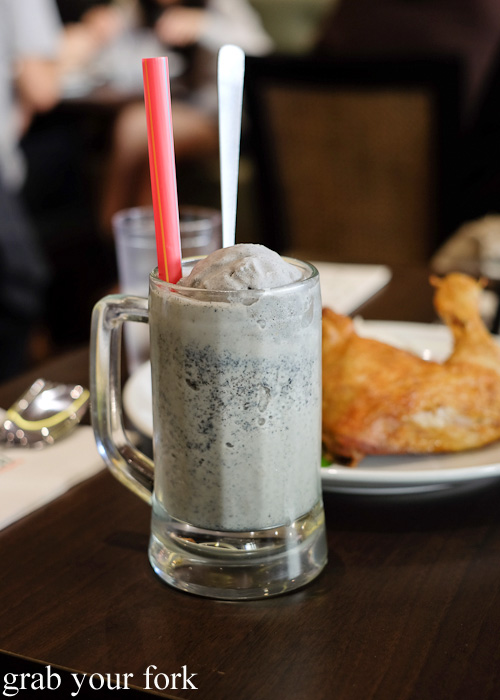 Open Sesame black sesame soya milk with sesame ice cream at Pappa Rich, Broadway