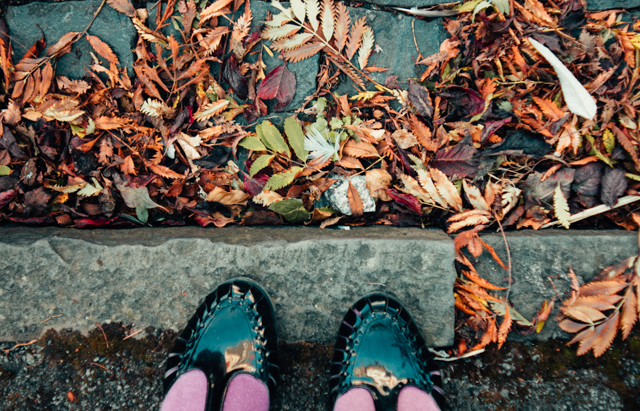 feet and leaves - looks like autumn!