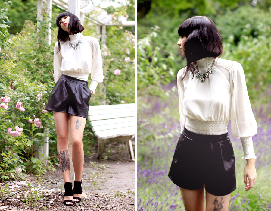 Chicwish white lace blouse Zara leather shorts heels Trendomly statement necklace roses summer shoot CATS & DOGS outfit ootd Ricarda Schernus Berlin fashion blogger 6