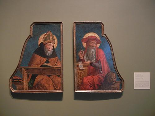 DSCN1161 - Saints Augustine & Jerome, c 1495-1500, Giovanni Ambrogio Bevilacqua, Blanton Museum, Austin