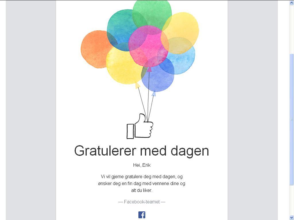 facebook gratulerer
