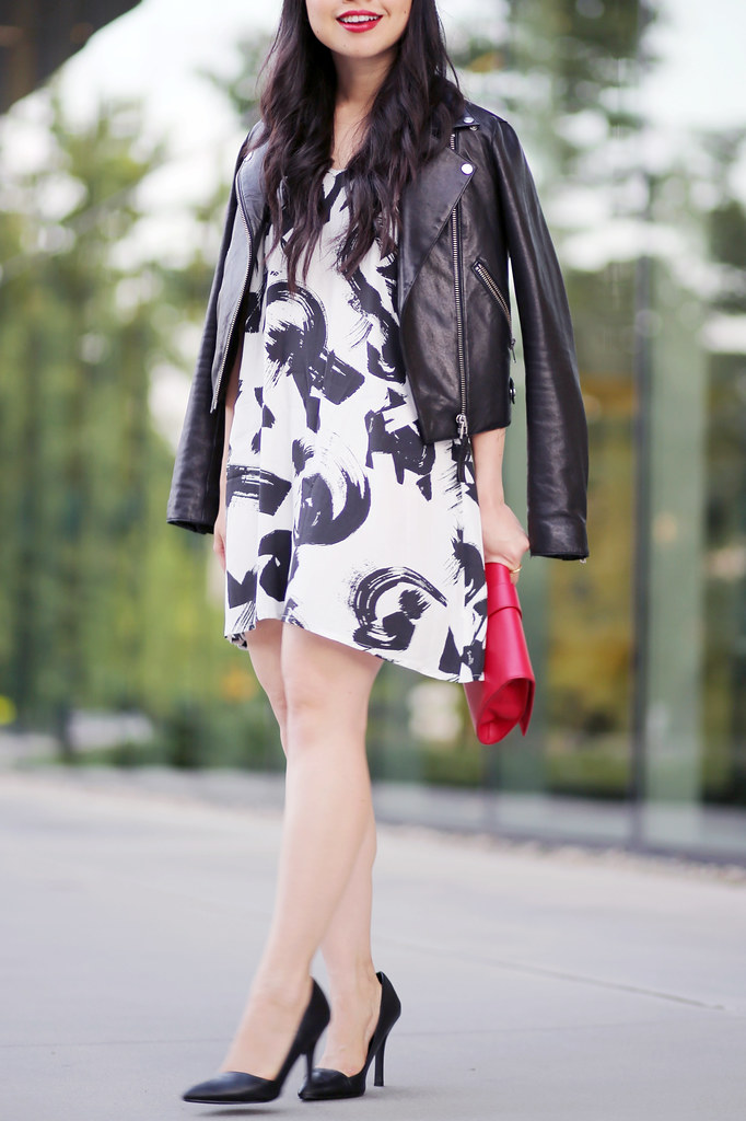 black and white dress her waise choice