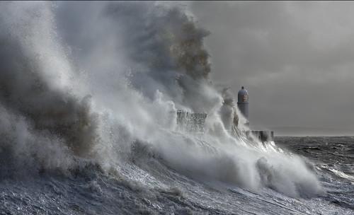uk sea lighthouse white seascape storm black wales contrast canon eos harbor surf flood harbour britain cymru cardiff wave seawall explore caerdydd 5d porthcawl mkiii bristolchannel giantwave explored wentloog stevegarrington