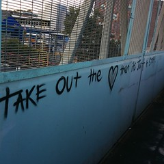 """Take out the <3 and it's just a story"" Poetic graffiti in #whampstead"