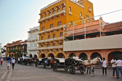 horses line up to give tours of Cartagena's old city