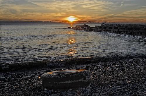 morning usa sun lake beach wisconsin clouds sunrise junk nikon midwest shoreline lakemichigan greatlakes shore elements milwaukee 1855mm cudahy lakefront 2013 milwaukeecountyparks milwaukeecountypark d5100 sheridanparkoct272013