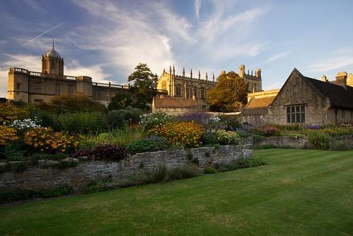 sunset england gardens architecture clouds landscape warm oxford christchurchcollege