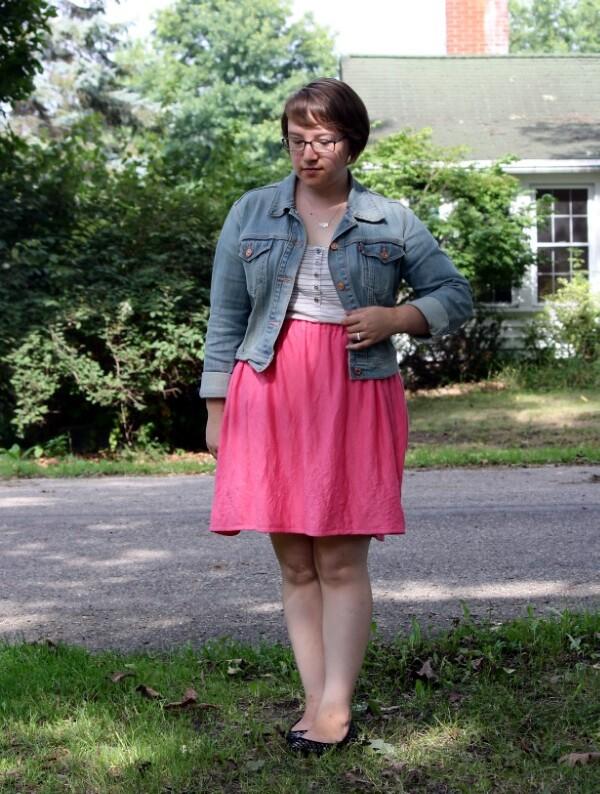 pink skirt, striped tee, denim jacket