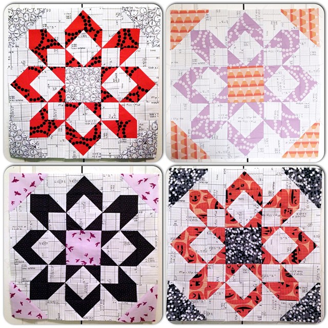 Blocks 1-4 all together! I'm 25% done! Love love love this @thimbleblossoms Fireworks pattern!