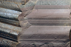 Proglacial lacustrine rhythmitic argillite (Konnarock Formation, Neoproterozoic, ~750 Ma; Grassy Branch Outcrop - Rt. 603 roadcut, Smyth County, Virginia, USA)