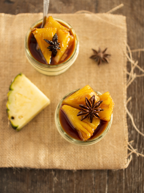 star anise panna cotta with caramelised pineapple