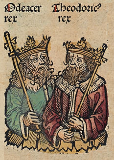 Depiction of Odoacer and Theodoric the Great, Woodcut from the Nuremberg Chronicle, 1493