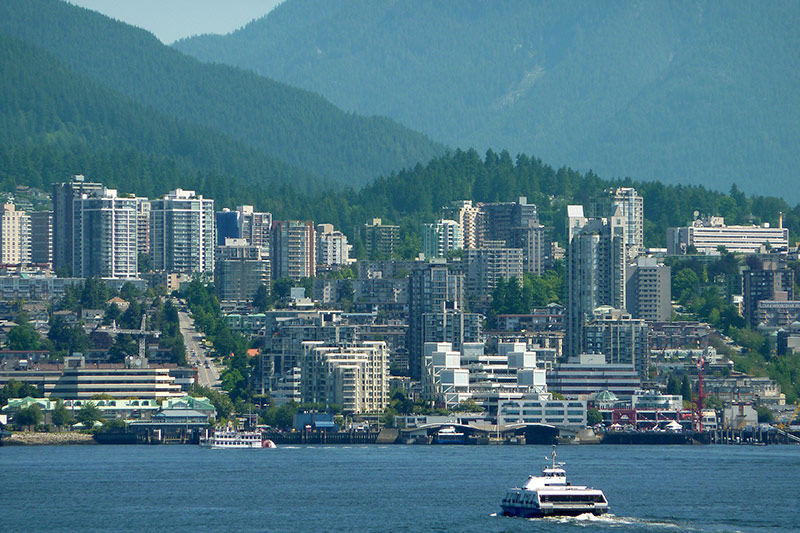North Vancouver, North Shore viewed across Burrard Inlet from Vancouver, British Columbia