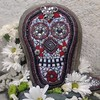 Day of the Dead.... Mosaic Skull on Rock /Garden Stone