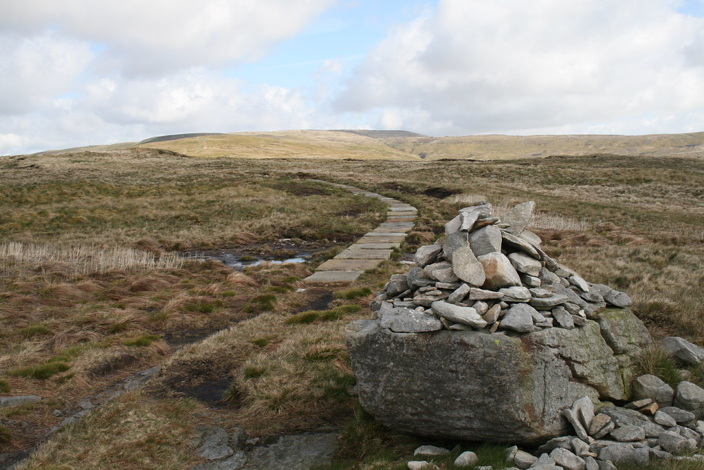Flagstones on Pennine Way up Great Shunner Fell