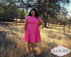 Altered McCall's 6890 in pink/yellow polkadot silk cotton