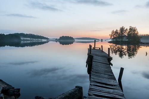 longexposure sunset summer sky cloud sun lake reflection nature water fog skyline clouds forest sunrise suomi finland landscape island pier nikon view horizon nikkor savonlinna 2014 18200mm d90 nikond90