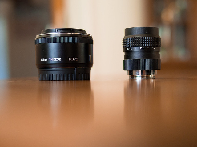 C-Mount 25mm f/1.4 & Nikkor 18.5mm f/1.8 side by side