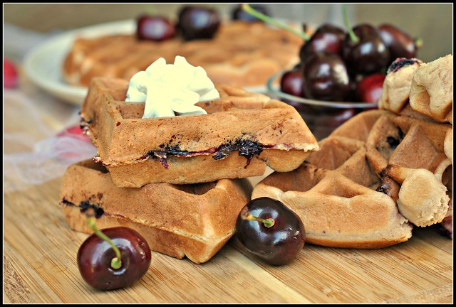 Cherry Almond Muffin Waffles 3