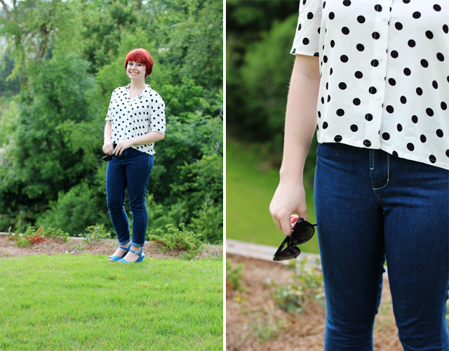 polka dot button down top, skinny jeans, and blue wedges