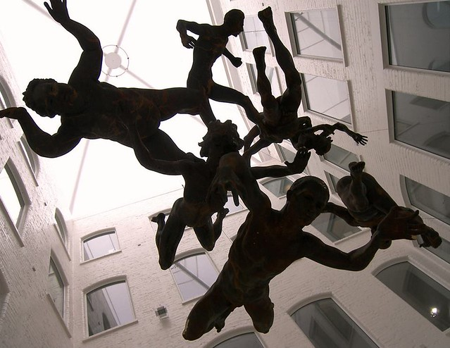 Custard Factory falling men, by Parmjit Flora