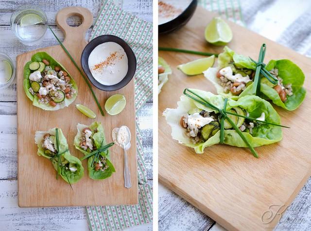 tacos con insalata e farro