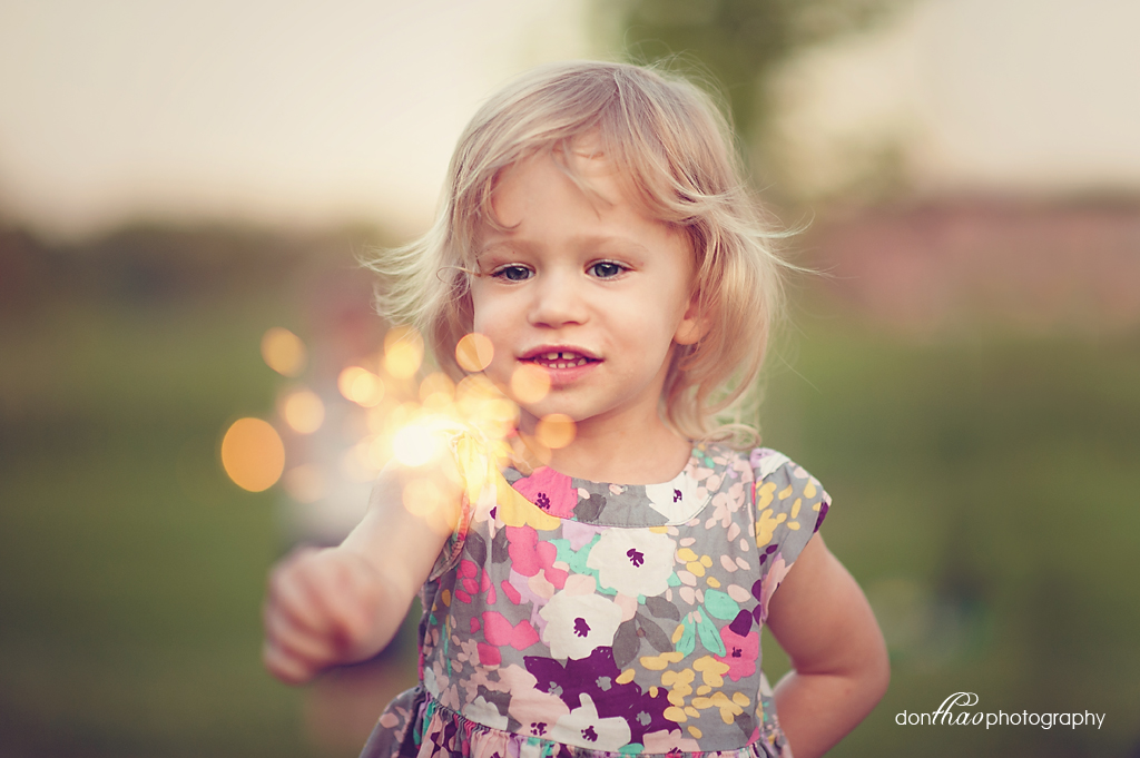 Happy 4th of July - young girl with sparklers in Hudsonville, Michigan