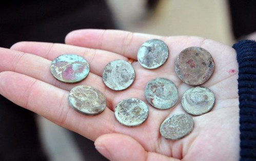 Chinese scrap coins closeup