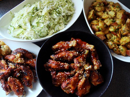 Sticky Asian Wings with Slaw & Potato Kielbasa Salad