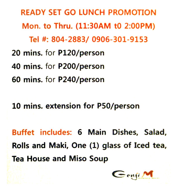 Genji M Ready Set Go Lunch Buffet Promo