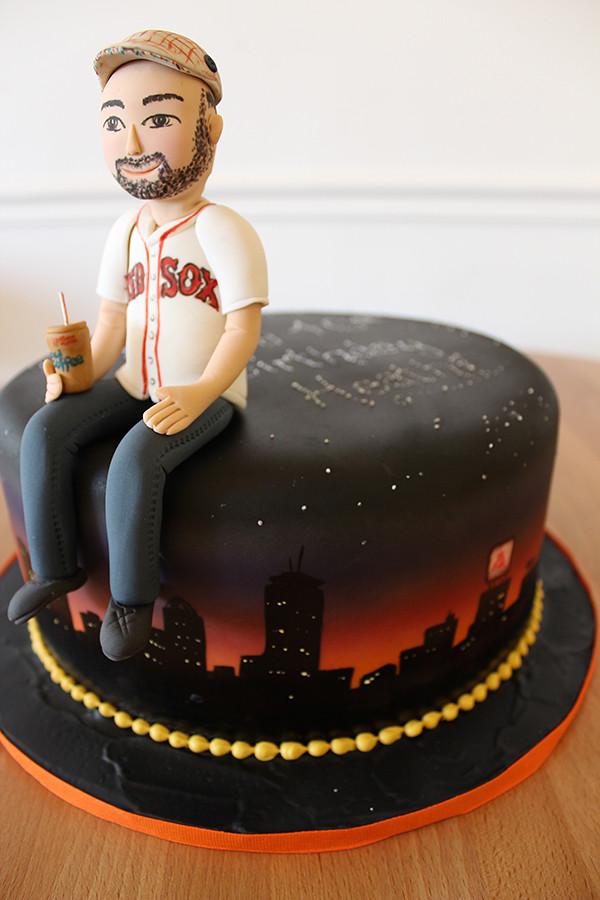 Boston Skyline Red Sox Fan Birthday Cake