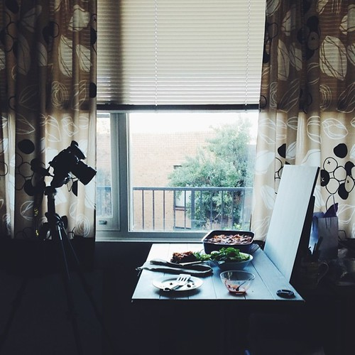 The usual shooting spot... #behindthescenes of some work the other day.   Hate those curtains (even thought I made them) need new ones with happy colour  #vscocam #vsco #foodphotography #recipedevelopment