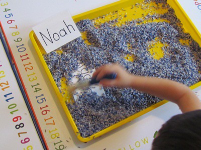 Digging up the Letters of Our Name in Preschool (Photo from Teach Preschool)