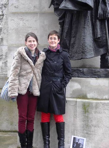 Rachel Abraham (on the right) pictured with her cousin, Alexandra Downes (Myles' grand-daughter) at the Royal Artillery Monument, Hyde Park London in 2013
