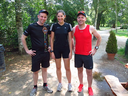 Zoe Riding with personal parkrun pacers Andy Wingate and Hayden Matthews