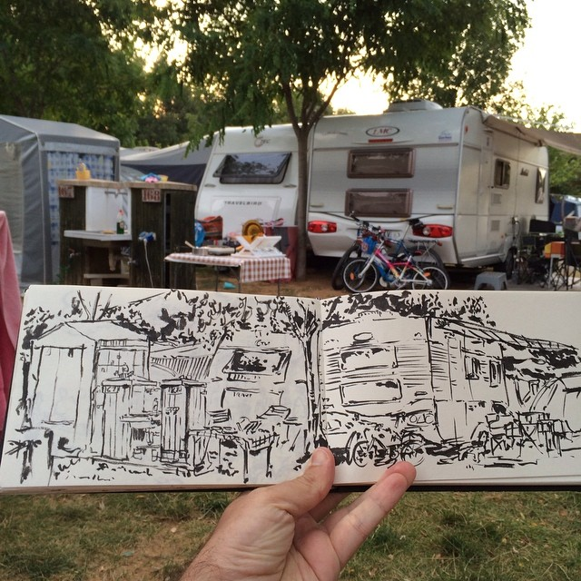 #urbansketch #campingiratxe #pentel