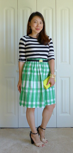 black stripes + green gingham