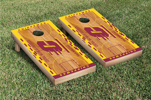 Central Michigan University CMU Chippewas Cornhole Game Set Basketball Wooden