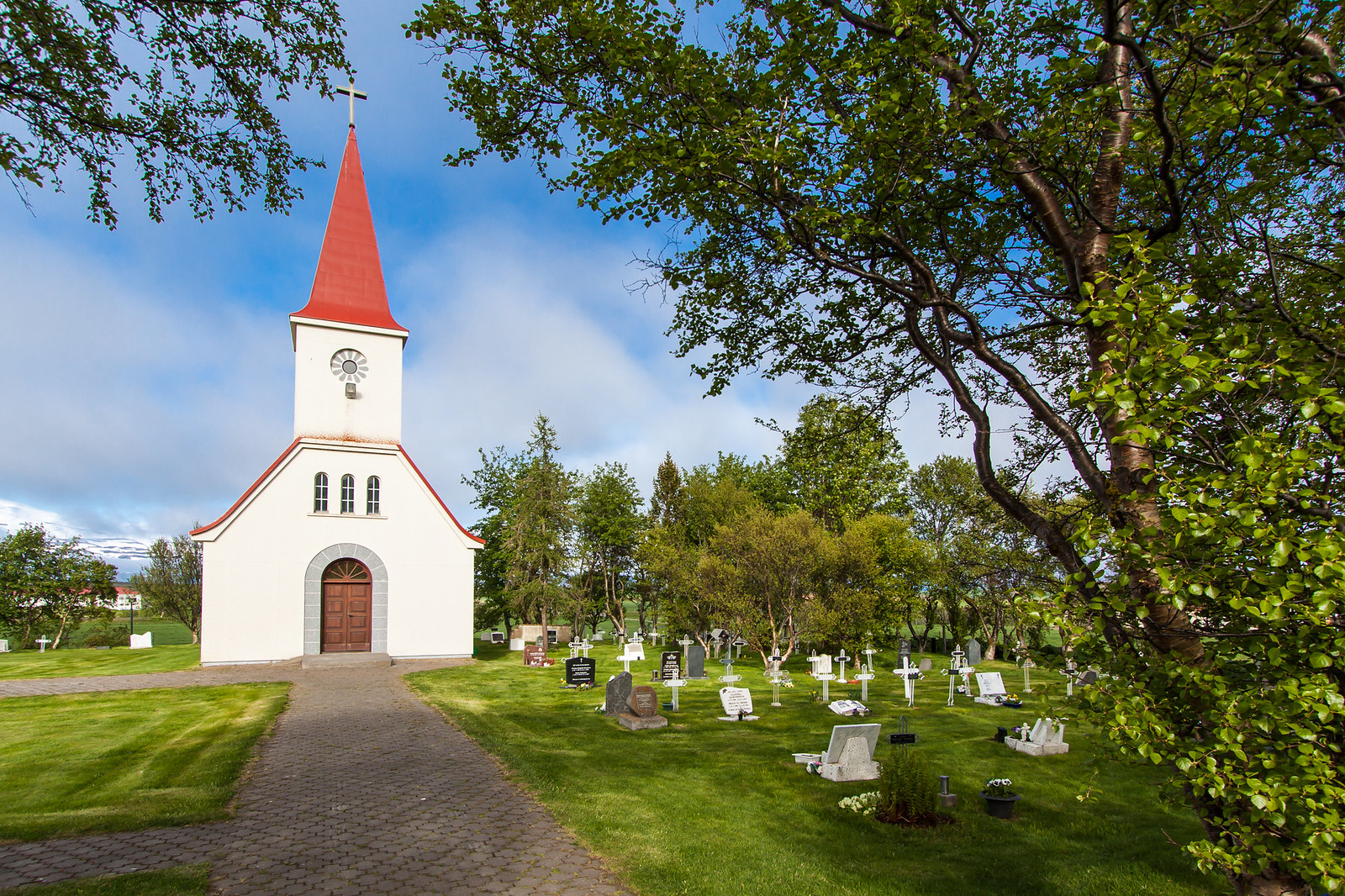 Iceland church and cemetery