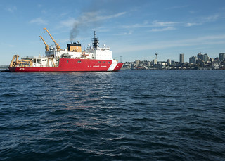 The crew of Coast Guard Cutter Healy, a 420-foot polar icebreaker, returns home to Seattle after spending 130 days on a science deployment in the Bearing Sea, Chukchi Sea and Arctic Ocean, Sept. 11, 2014. During the four-month patrol, the crew aboard Healy conducted three missions to further scientific knowledge and understanding of the Arctic. (U.S. Coast Guard photo by Petty Officer 3rd Class Jordan Akiyama)