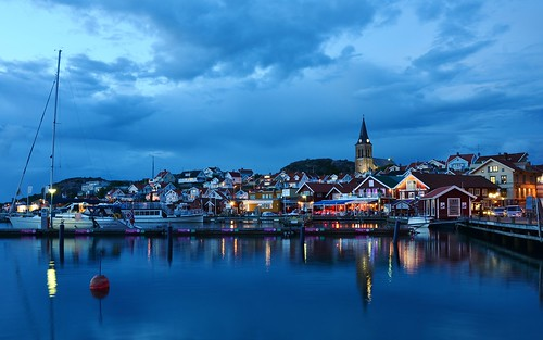 city light sea sky reflection night clouds nightshot cloudy sweden bluehour bohuslän bohuslan fjällbacka fjallbacka
