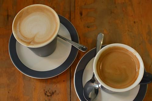 Homemade almond milk latte, long black