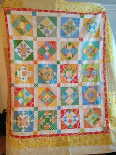 Pieced top - basted and ready for some hand quilting...layout from diary of a quilter
